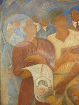 Parmi les habitants du village, Touchagues a également représenté son père, à l'arrière plan derrière lui